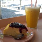 Cheesecake and orange juice