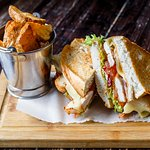 Our Chicken BLT Melt lunch sandwich with our triple cooked chips.