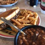 worlds best baked beans and damn good pulled pork on an unusually good garlic toast
