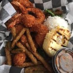 Coconut shrimp and fried green beans