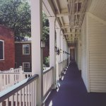 Courtyard-facing, covered porch at the Linden Row Inn in Richmond, VA.