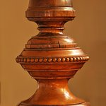 A newel post, an example of the craftsmanship that contributes to the B&B's Victorian elegance.