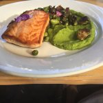 Salmon with pea puree and Brussel sprouts