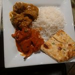 Curry lamb, butter chicken and garlic naan