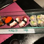 California roll, octopus, flying fish roe and eel. Delicious!