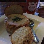Award winning  Clam Chowder bread bowl with local Devil's Purse ESB
