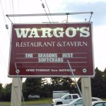 Large Wargo's sign over large parking lot.
