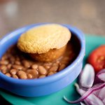 Pinto beans with all the fixings!