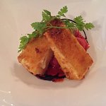 Beautifully fried brie with balsamic starwberries