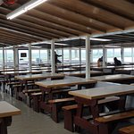 Inside eating with marsh and river views