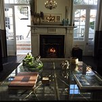 Hotel lounge with log fire