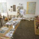 Handpainted textiles and clothes, paintings, ceramics, handmade items, jewellery.