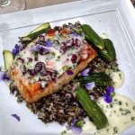 Salmon with wild rice.
