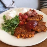 Brunch with corn fritters