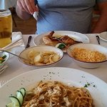 Top - Chicken Piripiri with veg, potatoes and rice, bottom spaghetti