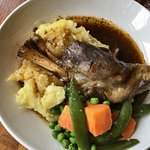 Lamb shank with mash & veg, fish pie, and the steak & ale pie.