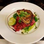 Swordfish steak beetroot risotto