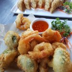 Tempura Broccoli and Shrimp. Pot stickers