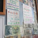 walls decorated with foreign currency!