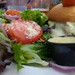 Mushroom burger and salad