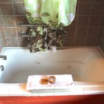 Rooms have combination jetted tub and shower