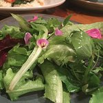 A beautiful salad of local greens and edible flowers at the Whale's Rib Tavern.