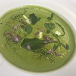 Pea + Garden Herb Soup, with burnt onion and goats cheese
