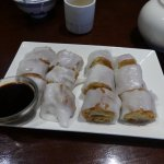 Rice noodle rolls with dought