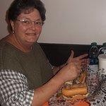 My wife Deborah negotiating a huge cheesesteak. See that smile?