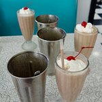 Milkshakes are made one-at-a-time (by hand) with REAL ice cream!