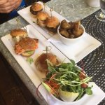 sliders - Land burgers - bison, chicken and lamb with roast potatoes
