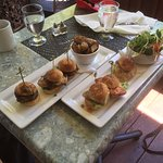 Sea Burger sliders - salmon, snapper and albacore tuna with fresh greens and sprouts