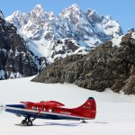 A glacier landing with our De Havilland Otter.