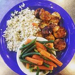Grilled Scallop, Hush Puppies, Rice and Veggies