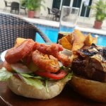 Burgers at the pool!