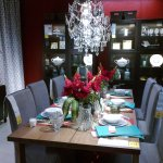 Lovely dining set, table wares & chandelier