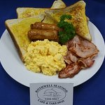 $4 Breakfast Available daily till 11:30am. Bacon, Scranbled Egg, Sausages, Extra thick toast
