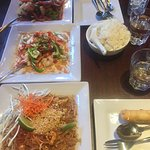 Basil Prawns, Panang Prawn Curry, Tofu Pad Thai, Coconut Rice + Vegetarian Spring Rolls