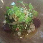 Vegan garden salad with eggplant