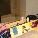 Mirror peeling all around the edge and an amount of mould, the staff cleaned it upon request