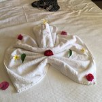 Beautiful surroundings and this lovely towel display to come back to.Recommended
