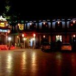 Hotel courtyard at night