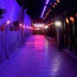 Hotel pathway at night