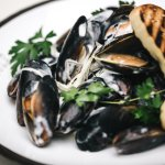 Steamed mussels with Trompete's freshly baked focaccia