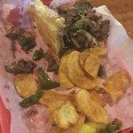 Jalapeño mozzarella stick, cheese fries, and philly cheese steak
