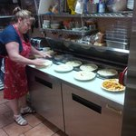 Lee-Ann making some yummy pies at Good Karma Kitchen