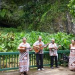 Crew entertains on the way up and at the Fern Grotto