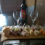 nice wine, meat and cheese