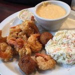 Shrimp with side of cheese grits