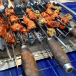 skewers on the table top grill